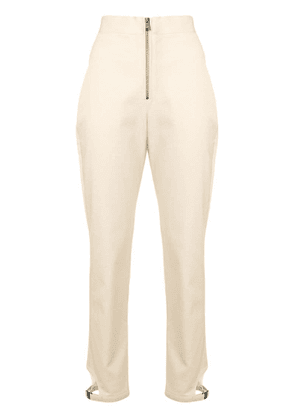 Fendi high-waist zip-front trousers - Neutrals