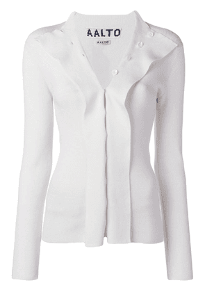 Aalto flapped knitted cardigan - White