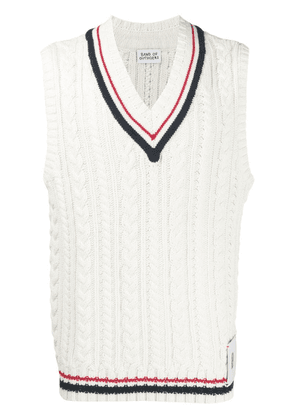 BAND OF OUTSIDERS v-neck cable knit vest - White