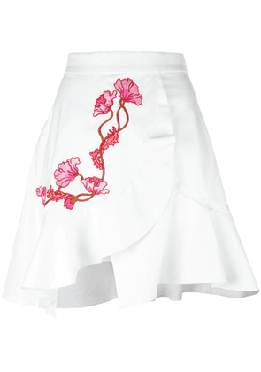 Carven embroidered wrap skirt - White