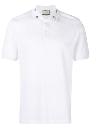 Gucci embroidered collar polo shirt - White