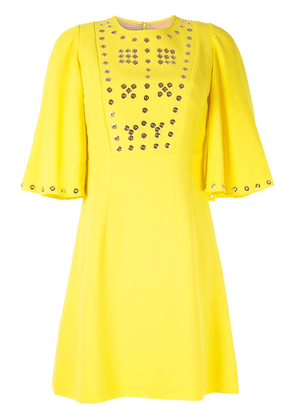 Andrew Gn eyelet detailed mini dress - Yellow