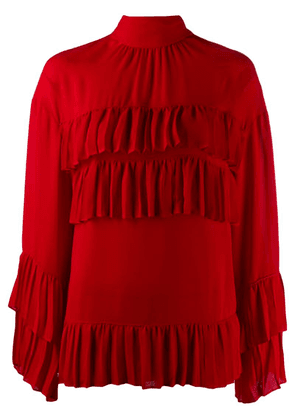 Valentino frilled silk top - Red