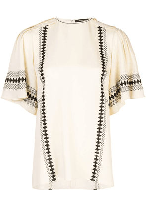 Derek Lam Embroidered Short Sleeve Georgette Blouse - White