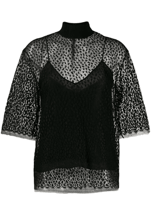 Givenchy leopard print lace top - Black
