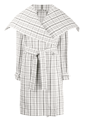 Aalto belted checked coat - White