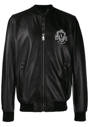 Billionaire logo leather bomber - Black