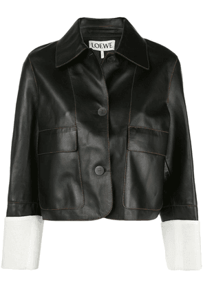 Loewe contrast stitching cropped jacket - Black