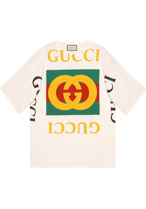 Gucci Oversize T-shirt with Gucci logo - Neutrals