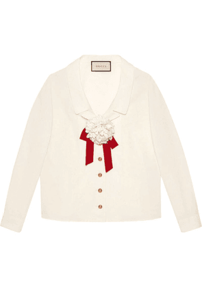 Gucci floral brooch detail blouse - White