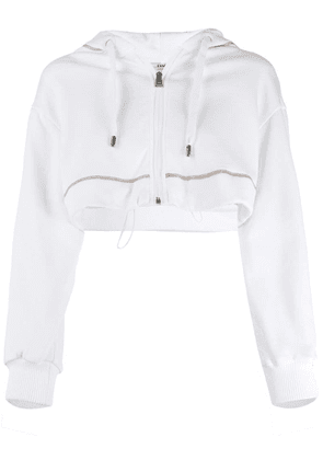 Fendi logo embroidered cropped hoodie - White