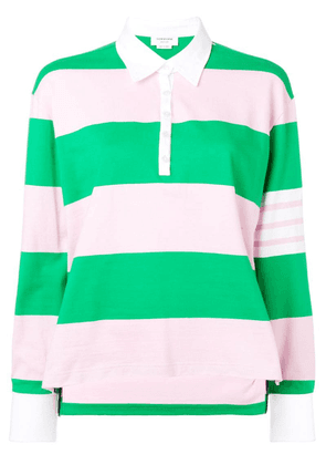 Thom Browne 4-Bar Green Oversized Rugby Polo - Pink
