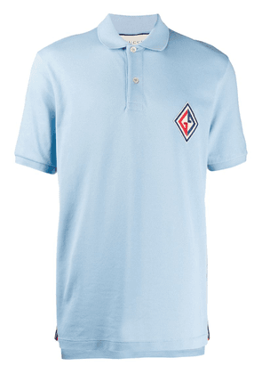 Gucci embroidered logo patch polo shirt - Blue