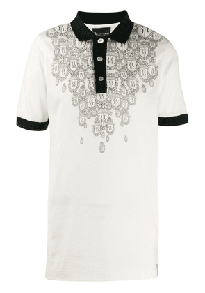 Billionaire crest print polo shirt - White