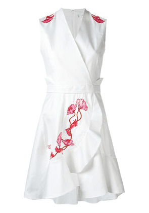 Carven embroidered flower dress - White