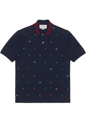 Gucci Polo with symbols embroidery - Blue