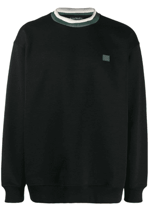 Acne Studios face patch crew neck sweatshirt - Black
