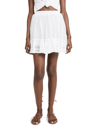 Place Nationale La Bléone Grid Lace Tiered Miniskirt