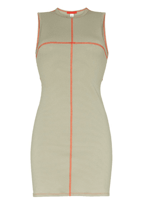 Eckhaus Latta contrast-seam mini-dress - Green
