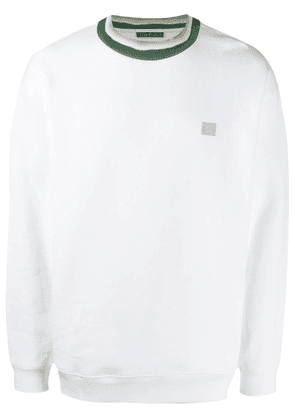 Acne Studios face patch crew neck sweatshirt - White