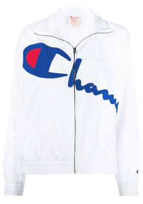 Champion logo embroidered zip sweatshirt - White