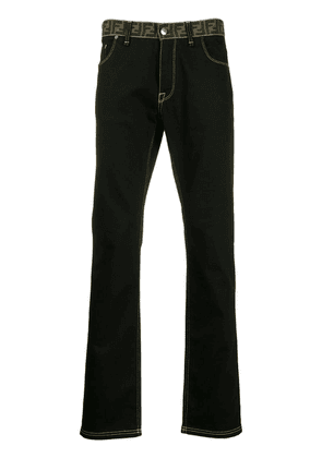 Fendi monogram waistband jeans - Black