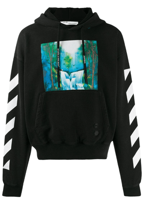 Off-White waterfall diagonal print hoodie - Black