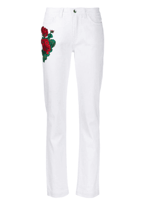 Dolce & Gabbana embroidered flowers skinny-fit jeans - White