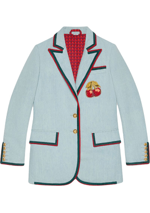 Gucci Denim jacket with cherry patch - Blue