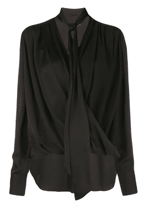 Derek Lam Oversized Long Sleeve Draped Georgette Wrap Blouse with Neck