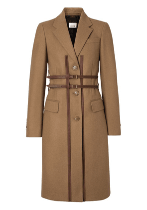 Burberry Leather Harness Detail Wool Tailored Coat - Brown
