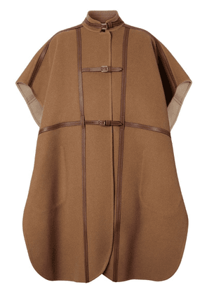 Burberry Leather Harness Detail Wool Blend Cape - Brown