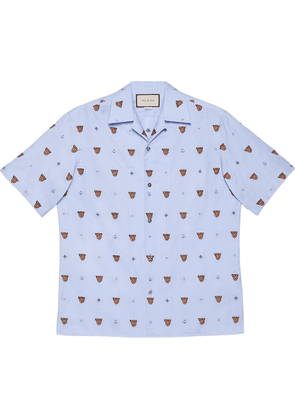 Gucci Tiger head and symbols fil coupé shirt - Blue