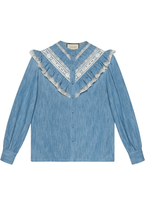 Gucci Denim ruffle shirt - Blue