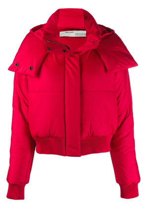 Off-White cropped padded coat - Red