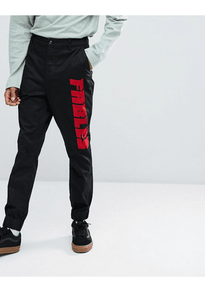 ASOS Tapered Joggers With Fables Text Print In Black