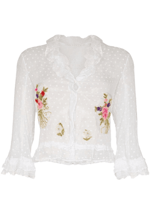 One Vintage floral-embroidered ruffle cardigan - White