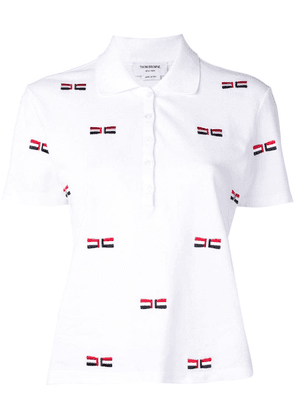Thom Browne Bow Embroidery Relaxed Polo - White