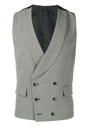 Gabriele Pasini houndstooth double-breasted waistcoat - Black