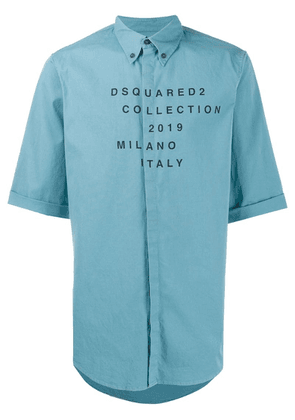 Dsquared2 printed logo button-up shirt - Blue