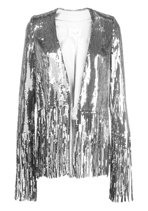 Galvan sequinned fringed-hem jacket - Silver