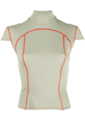 Eckhaus Latta contrast stitch fitted top - Green