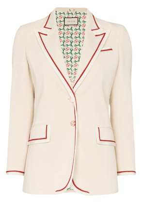 Gucci single-breasted piped blazer - White