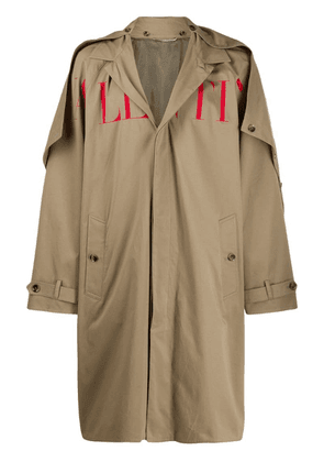 Valentino printed logo trench coat - Neutrals