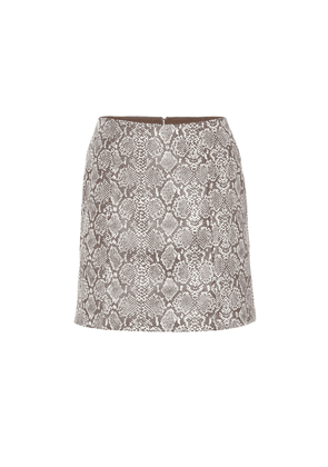 Snake-effect faux leather skirt