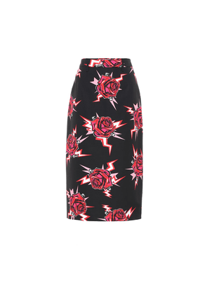 Printed cotton-poplin skirt