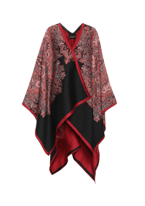 Wool and silk-blend poncho