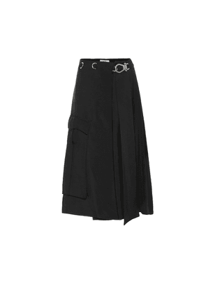 Embellished twill wrap skirt