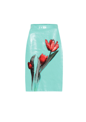 Floral glossed-leather skirt