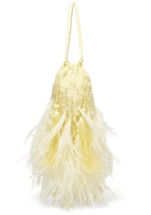 Attico - Feather-trimmed Beaded Satin Pouch - Yellow